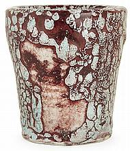 ERNEST CHAPLET (1835-1909 A flared enamelled porcelaneous stoneware vase, circa 1890-1895, Choisy-le-Roi. Incised signature. (A cooking