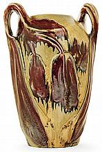 GLATIGNY A large ovoid enamelled porcelain vase, circa 1899. Incised signature. Height. 12 5/8 In.