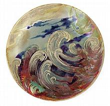 Clément Massier (1845-1917) A circular enamelled earthenware plate, Golfe-Juan, circa 1898. Enamelled signature. Diam. 8 1/8 In.