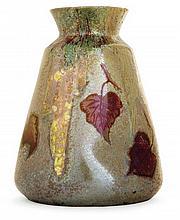 Clément MASSIER (1844-1917) & Lucien LéVY-DHURMER (1865-1953) A tapered battered enamelled earthenware vase, Golfe-Juan, 1892-1895. Ena
