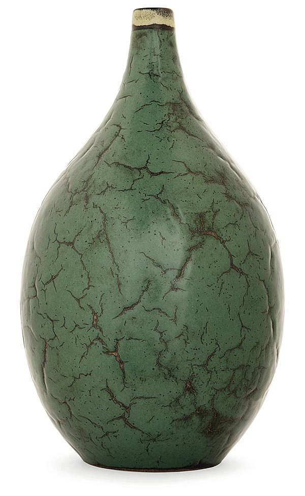 LOUIS LOURIOUX (1874-1930) A pear shaped enamelled stoneware vase, Foëcy, circa 1930. Enamelled signature with a she-wolf. Height. 10 7