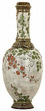 ERNEST CHAPLET (1835-1909) -HAVILAND & CIE An enamelled stoneware bottle vase, Paris, 1886-1887. Producer's mark, numbered. (Two tiny c