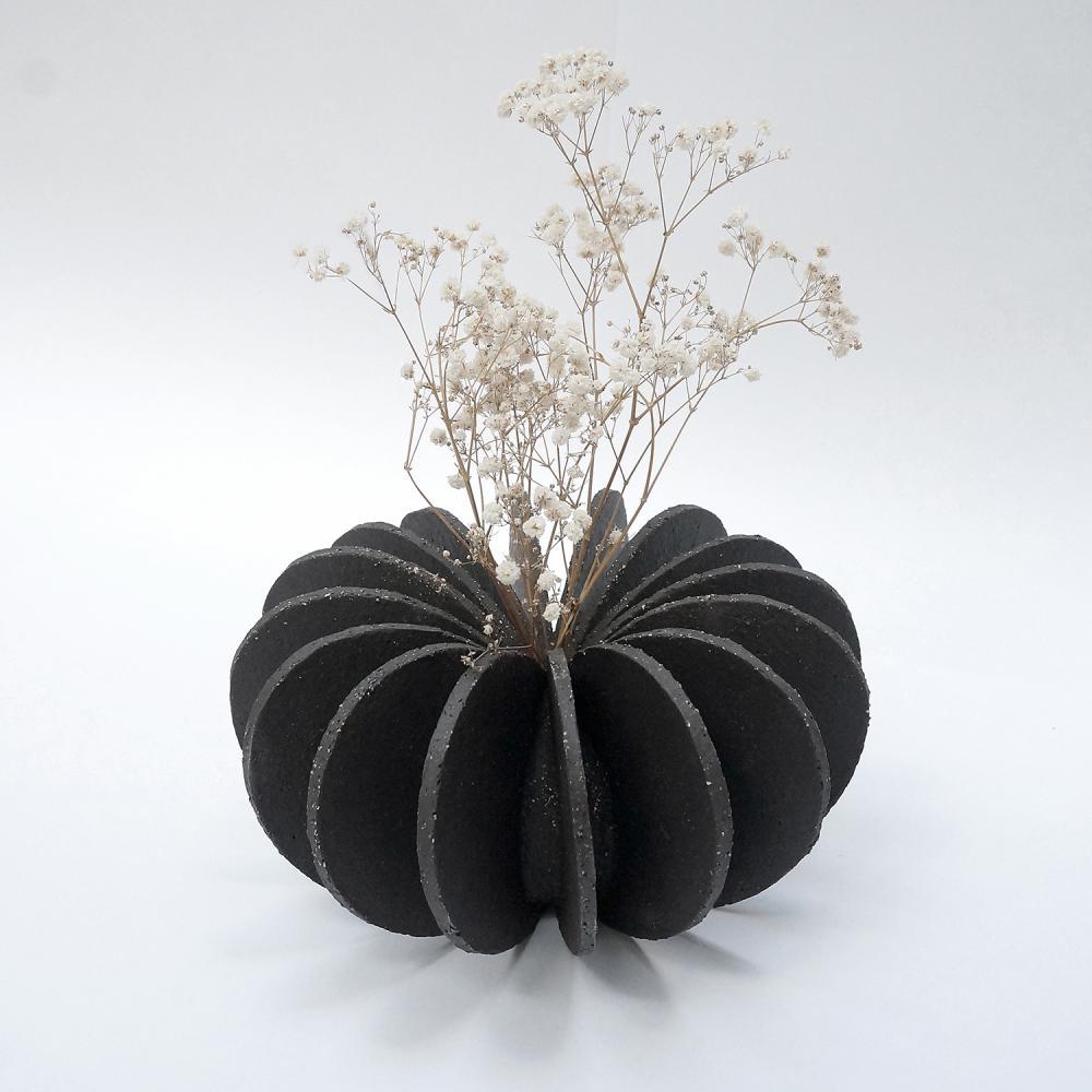 Toma Blok Deux céramiques, Aero noire terre Grès Manga brut (25 cm diamètre)