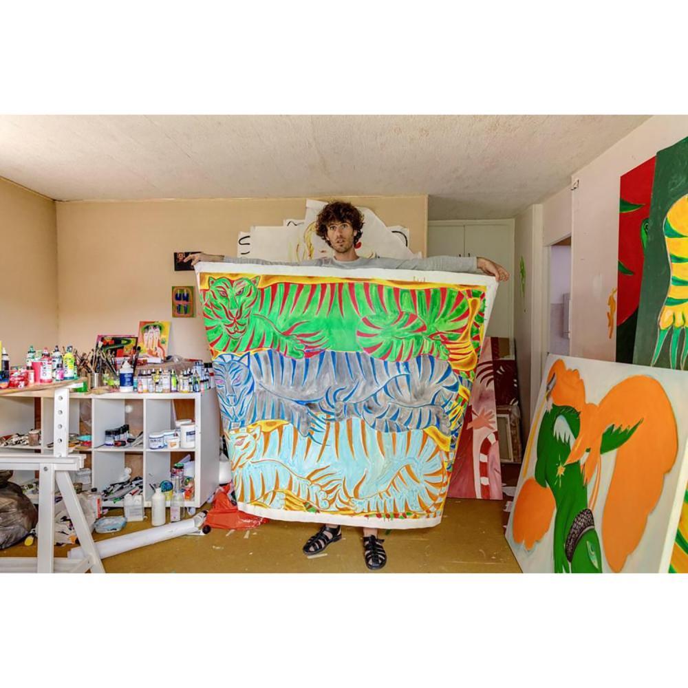 John fou Un atelier de couleurs et de traits pour cinq personnes, l'art du jeu dans le dessin et du dessin dans le jeu.