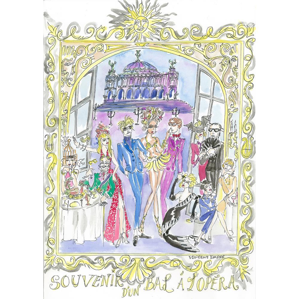 """Vincent Darré """"Souvenir d'un bal à l'Opéra"""", mars 2021, aquarelle sur papier Canson réalisée spécialement pour la vente, 30x42cm."""