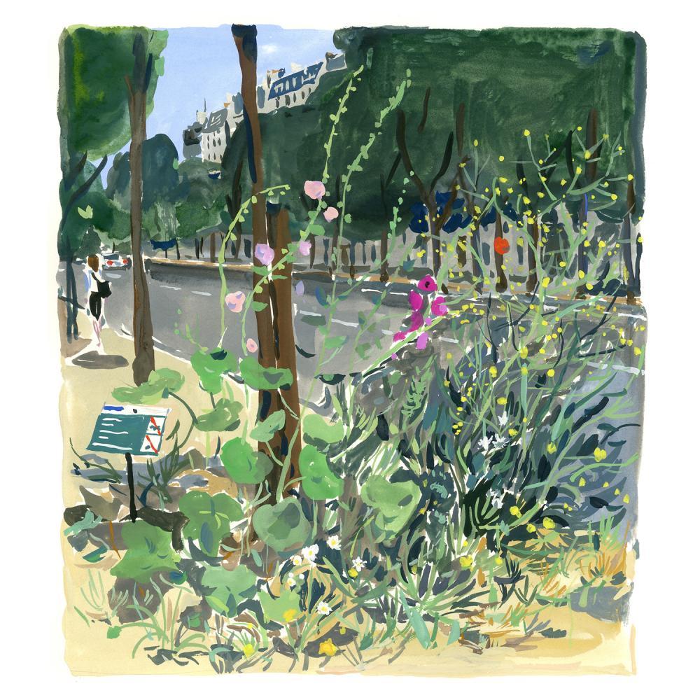 Jean-Philippe Delhomme Fleurs sauvages, Paris, 2015. Gouache sur papier, 30 x 40 cm, Unique, signée en bas à droite. Don de l'a...