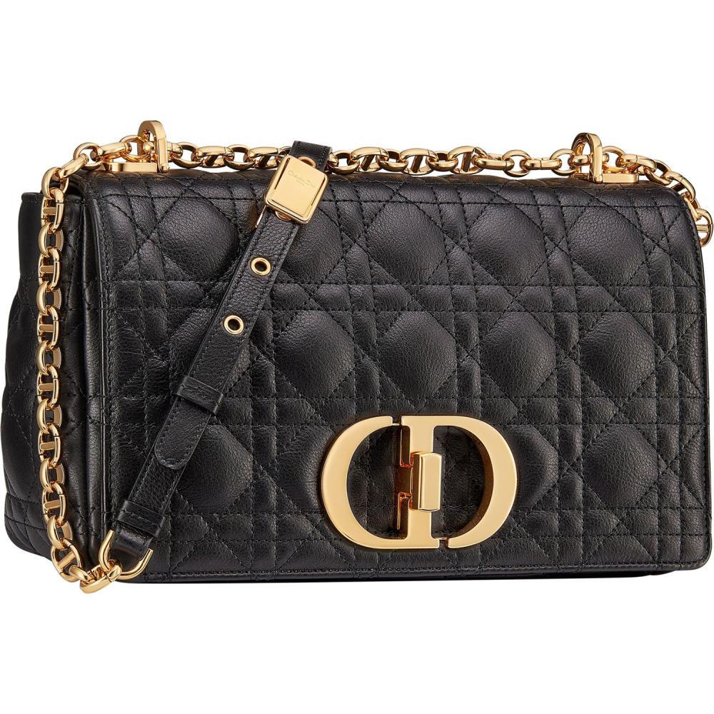 Dior Sac chaîne Dior Caro Medium en cuir de veau souple Cannage noir, fermoir twist CD, Dior