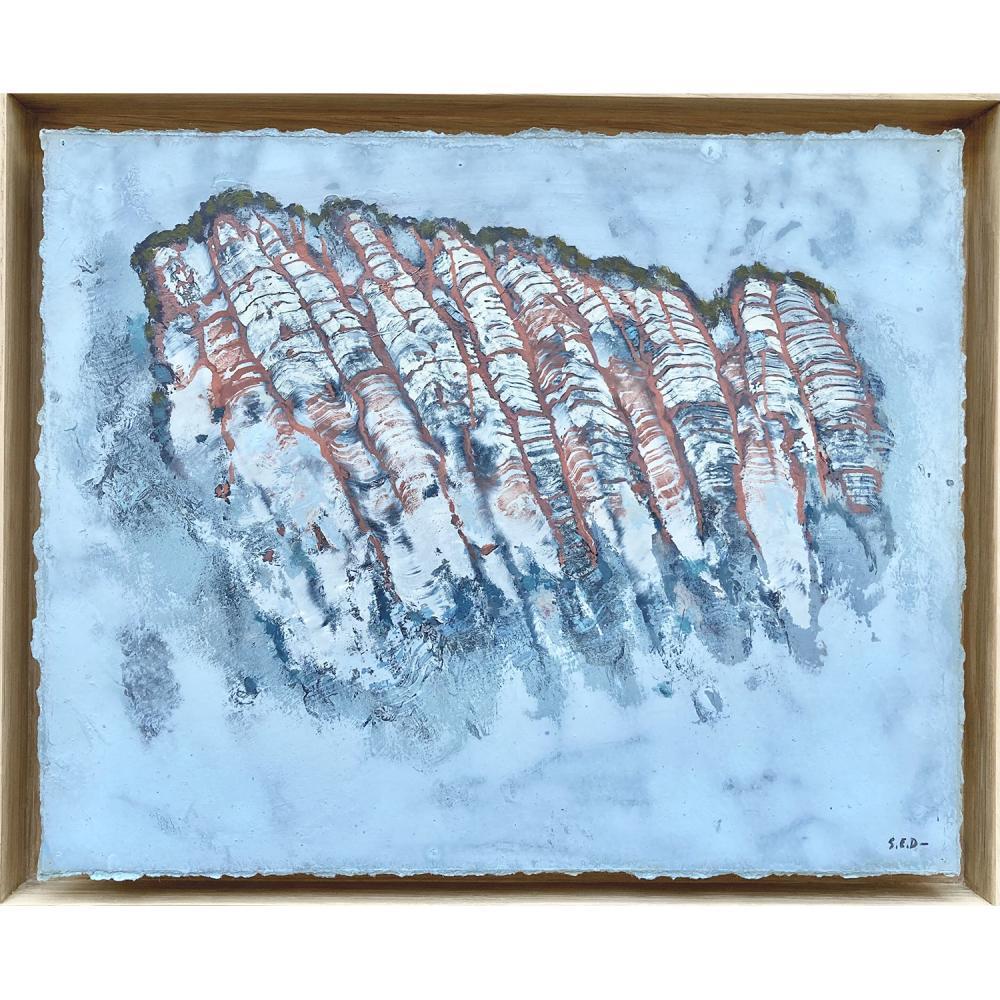 """Stéphane Erouane Dumas """"Falaise"""", 2021, huile sur papier 28 x 35 cm, encadrement en chêne clair (courtesy of galerie Pierre-Alain C..."""