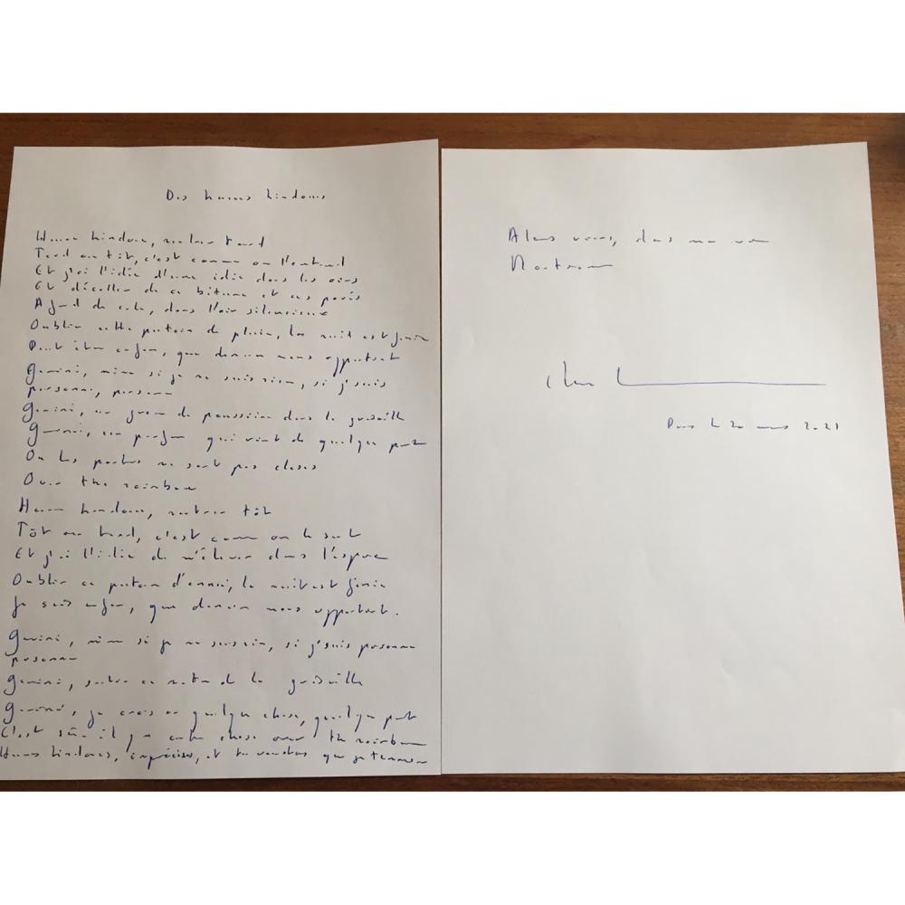 """Étienne Daho Un manuscrit de la chanson """"Des heures hindoues"""", spécialement calligraphié pour la vente (2 feuilles A4, signé, dat..."""