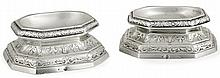 A pair of French silver salt cellars by Denys Franckson, Paris, 1789. HAUT. 3,4 cm - POIDS  304 g. HEIGHT. 1 5/16 IN. - weight 10.72 OZ