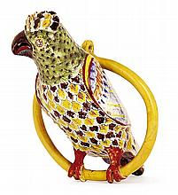 A Delft faience parrot, 17th century. HAUT. 25,5 cm HEIGHT. 10 IN.RRÀ rapprocher du lot 241 de la vente du 27 mai 2004 chez Christi