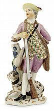 A Meissen porcelain figure of a hunter with his dog, 18th century, circa 1750. HAUT. 15 cm HEIGHT. 5 7/8 IN.
