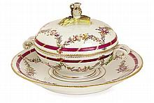 A Zurich bowl and cover monogrammed Z, circa 1775. LONG. 23,6 cm LENGHT. 9 5/16 IN.