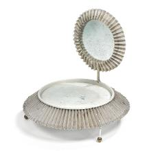 Mathieu MATÉGOT (1910-2001) A lacquered rigitulle and metal mirror standing on a large three-legged base topped with a tray. Height. 16
