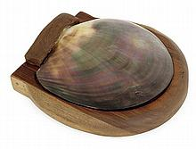 ALEXANDRE NOLL (1890-1970) A rounded walnut box with a mother-of-pearl lid. Inscribed with the artist's signature. (Traces of glue at t