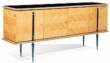 Gaston STREFF (XXe) An oak veneer sideboard, chevron patterned marquetry patinated metal legs, black opaline top, circa 1954. Height. 3