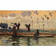 ƒ Abel Bertram (1871-1954) Barque de pêcheurs, 1907