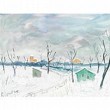 ROLAND DUBUC (1924-1997)  PAYSAGE DE NEIGE
