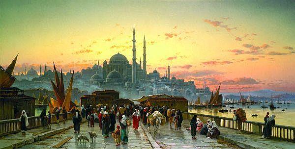 ƒ Hermann-David-Salomon Corrodi 1844-1905) École italienne Le pont de Galata au crépuscule avec la mosquée yeni valide djami, constanti