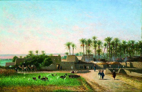 Narcisse Berchère (1819-1891) Tell El Kébir Huile sur panneau, situé et daté 1867 en bas à droite, dédicacé à Mr F. de Lesseps et signé