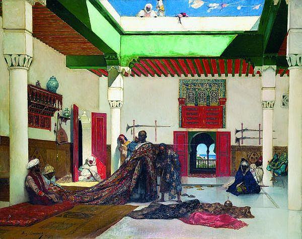 ƒ Jean-Joseph Benjamin Constant (1845-1902) Marchand de tapis à Tanger Huile sur toile, signée, datée 1883 et située à Tanger, en bas à
