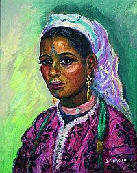 Solange Monvoisin (1911-1985) Jeune marocaine aux tatouages Huile sur toile appuyée sur panneau, signé en bas à droite. 46 x 38 cm