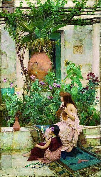 ƒ John-William Waterhouse (1849-1917) École anglaise Jeunes filles sur une terrasse à capri Huile sur toile, signée en bas à gauche. 85