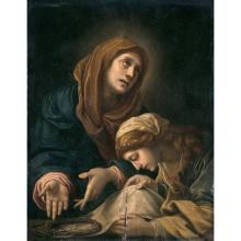 ATTRIBUÉ à ALESSANDRO TIARINI (1577-1668) LA VIERGE ET SAINTE VéRONIQUE AVEC LES RELIQUES DE LA PASSION Attr. to A. Tiarini, The Virgi