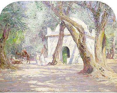 Julien Stappers (1875-1960) Ecole belge - Marabout au bois sacré de Blida