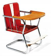 KOELSTRA (Éditeur) A tubular steel, vinyl and plywood baby chair, circa 1950. Producer's plate. Height. 22 7-8 in. - Width. 15 3-8 in.