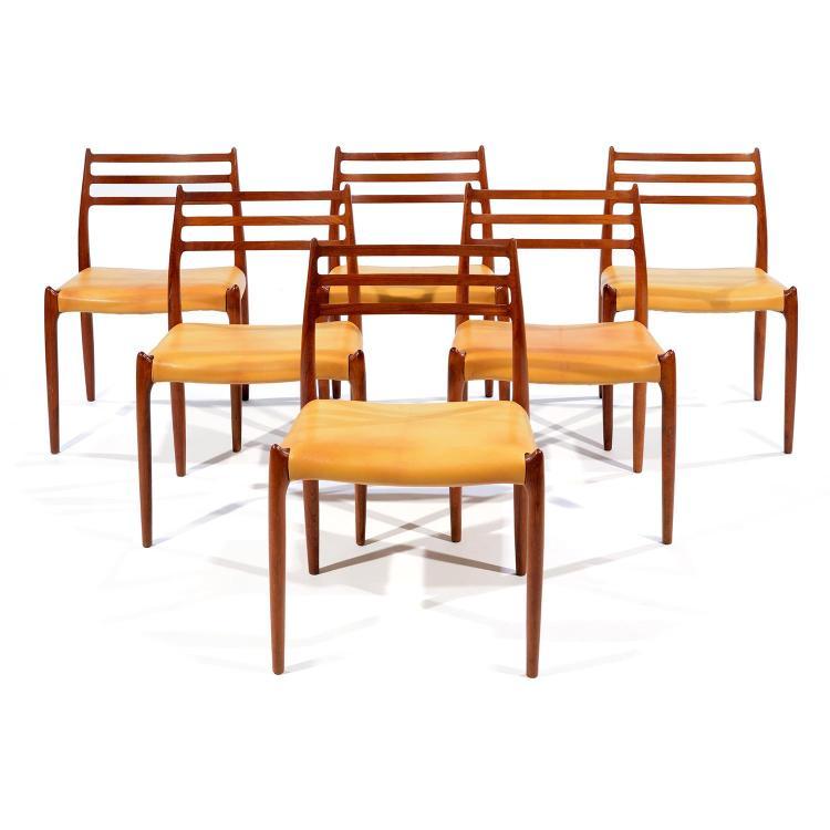 niels otto m ller 1920 1981 suite de six chaises mod le 7. Black Bedroom Furniture Sets. Home Design Ideas