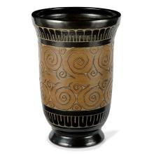 ƒ ÉMILE LENOBLE (1875-1939)Vasque en grès, décor d'une frise végétale incisée bordée de frises géométriques, émaux ocre et bruns sur...