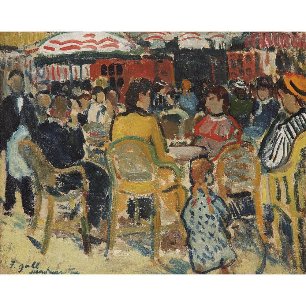 François Gall 1912 1987 Terrasse De Café à Montmartre Oil