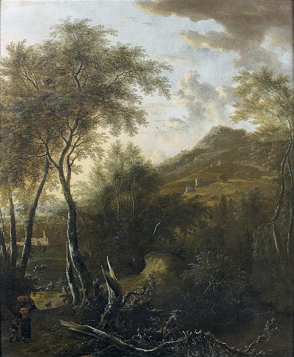 Frédéric de MOUCHERON(Emden, 1633 - Amsterdam, 1686) Chasseur dans un paysage montagneux Toile 88 x 73 cm Signée en bas au centre : ...