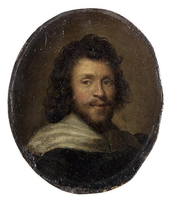 Attribué à JAN STOLKER(1724 – 1785) Portrait d'homme dit de Claude Gellée Cuivre ovale 10 x 8 cm Au dos : Claude Gelée/ dit le Lorra...