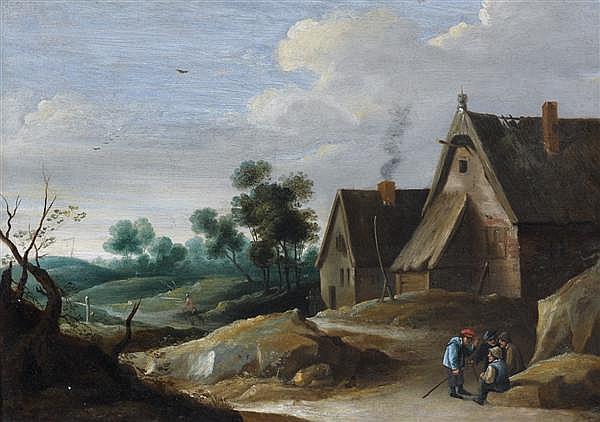 Attribué à Thomas van APSHOVEN (1622 - 1664) Paysans discutant devant une ferme Panneau de chêne parqueté 33 x 45 cm Fente restaurée