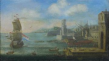Orazio GREVENBROECK (Paris 1670 - 1730) Navires et galère dans un port Toile 27 x 47 cm Restaurations
