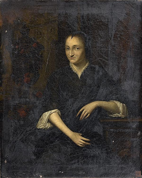 Elias van NIJMEGEN (Nimègue 1667 - Rotterdam 1755) Portrait de femme accoudée Toile 48 x 39,5 cm Signée en bas à droite sur le socle...