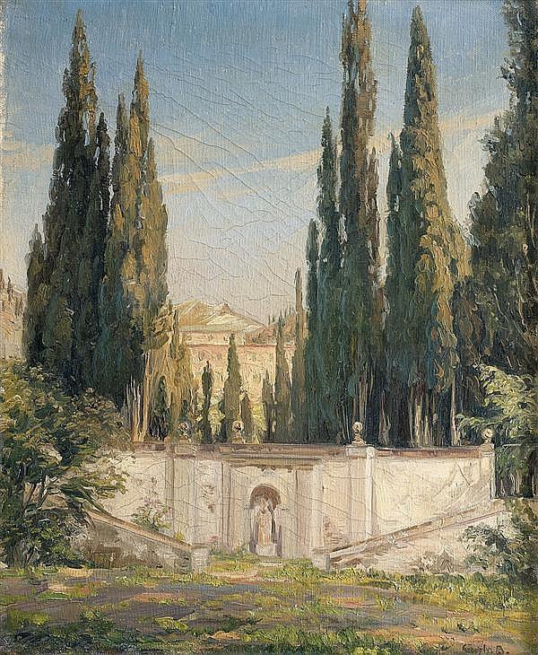 Attribué à Gerhard BLOM(1867-1930) Vue de la villa d'Este (?) Toile 45 x 36 cm Signature illisible en bas à droite : G… B.