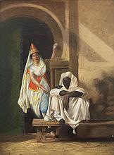 ÉCOLE ORIENTALISTE (XIXe siècle) LE RÉVEIL à LA PLUME Pastel sur papier portant une trace de signature (Acax) et daté (18) 22 en bas...