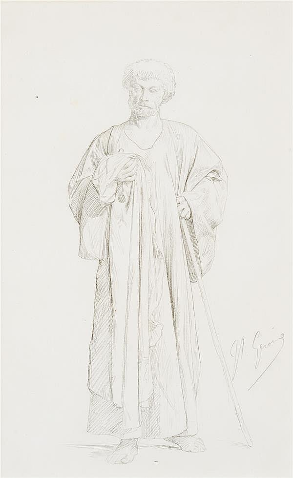 JEAN-LÉON GERÔME (1824-1904) DESSIN PRÉPARATOIRE POUR