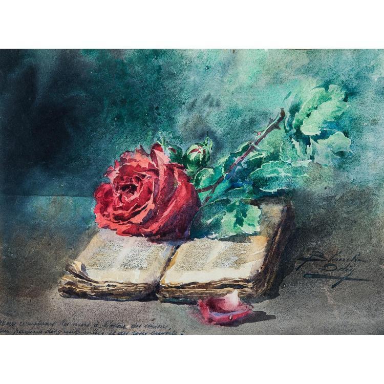 Blanche Odin 1865 1957 Nature Morte La Rose Et Au Livre