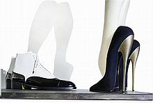 MASSARO An installation composed of velvet leather pumps with an 8 gold heel, facing a pair of duo-tone leather Richelieu shoes ...
