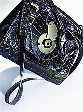 RALPH LAUREN A Ricky Bag mini handbag in black patent crocodile skin and metal
