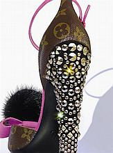 LOUIS VUITTON Monogram leather sandals, heels studded with rhinestones and a largegrain knot adorned with a fur pompon, size 51/...
