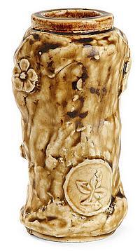 Jean-Michel CAZIN (1869-1917) Vase rouleau japoniste en grès porcelainique à contours modifiés et galbés, base et col annulaires, dé...