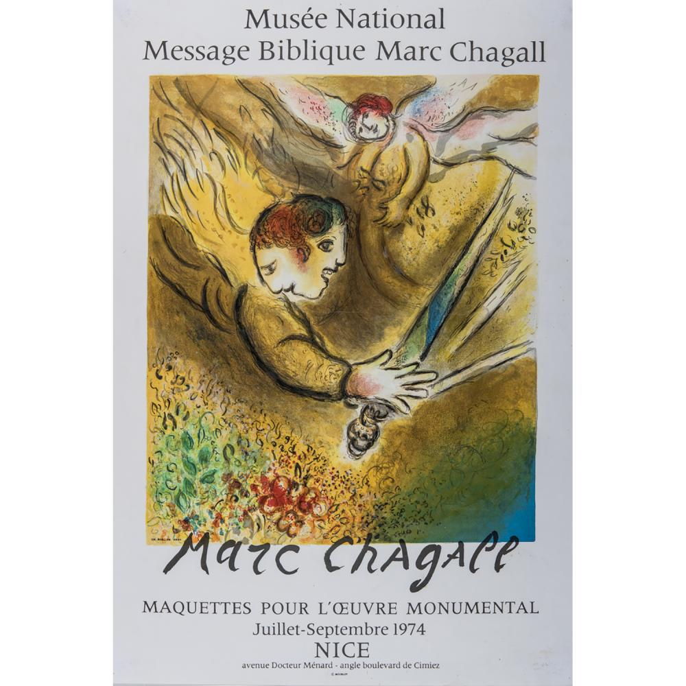 [AFFICHE]. - MARC CHAGALL (D'APRÈS) L'ANGE DU JUGEMENT, 1974 Lithographie en couleurs par Charles Sorlier avec le texteMaquettes pou...