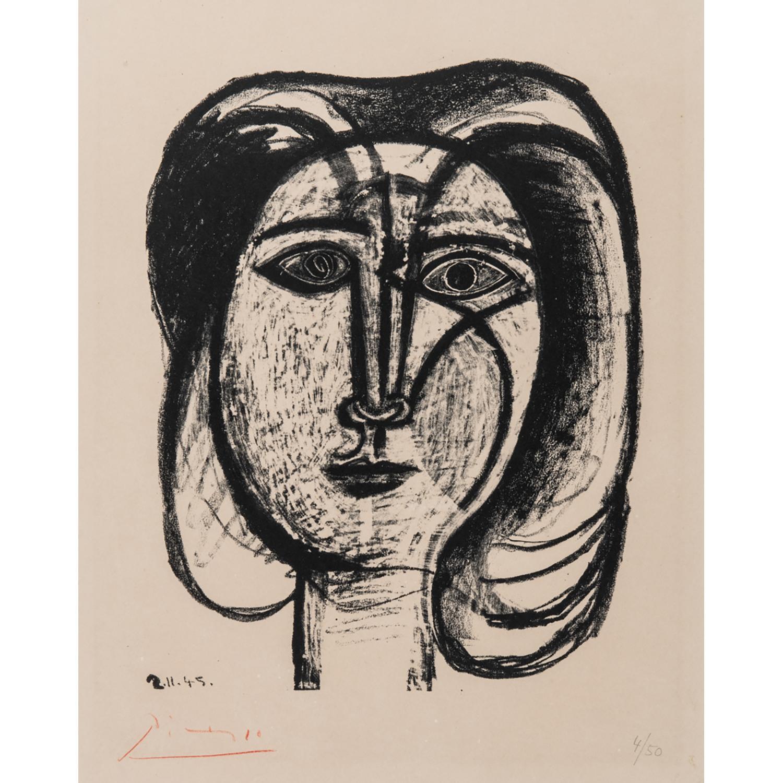 PABLO PICASSO (1881-1973) TÊTE DE FEMME, 2.11.45