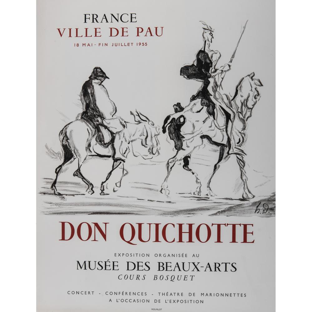 [AFFICHE]. - HONORÉ DAUMIER DON QUICHOTTE Affiche lithographique de Mourlot sur vélin Pour l'exposition au Musée de Pau de mai à jui...