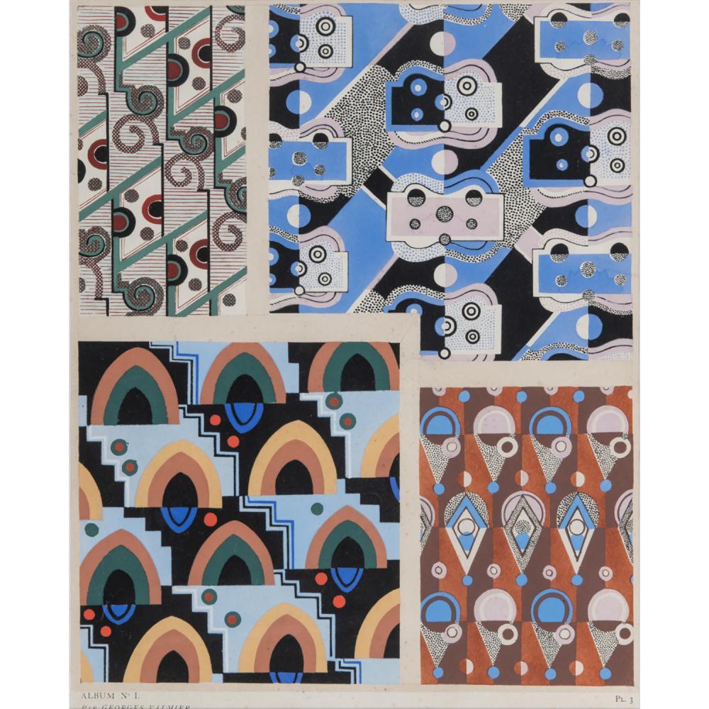 """GEORGES VALMIER (1885-1937) ÉTUDE POUR LA COLLECTION """"DÉCORS ET COULEURS"""", PLANCHE 7"""
